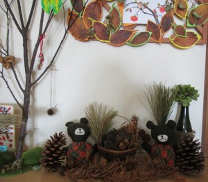 木の葉と熊 の